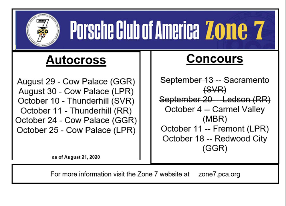 Zone 7 Autox and Concours 2020